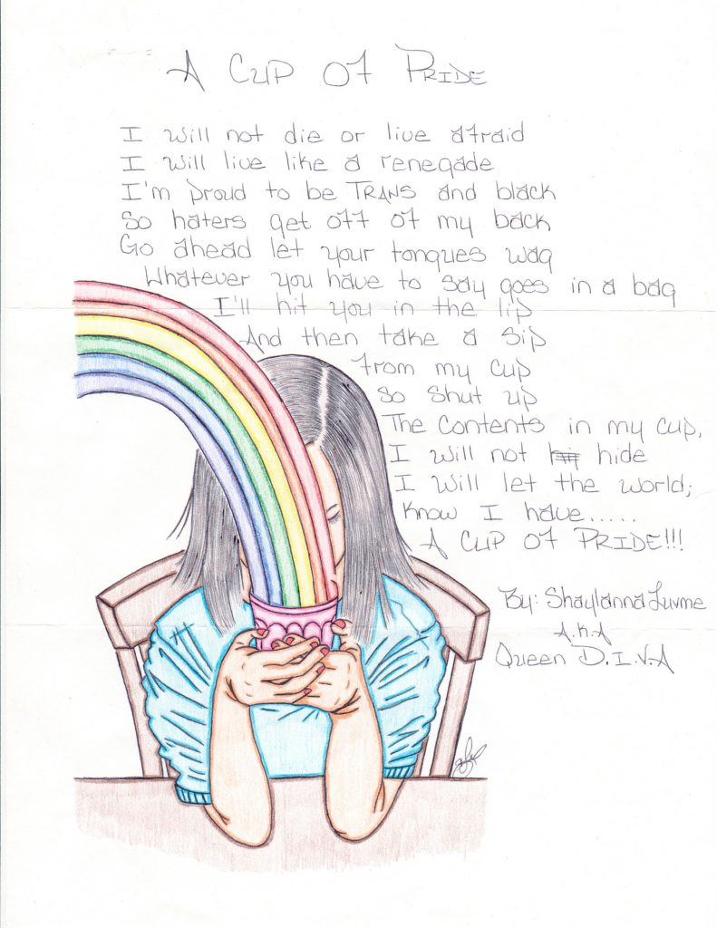 Shaylanna's drawing of a person with long hair holding a cup with a rainbow coming out of it. There is a poem written next to the graphic.